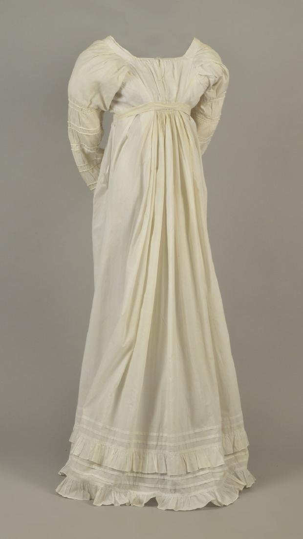 WHITE COTTON DRESS with CORDING, c. 1800 - 2