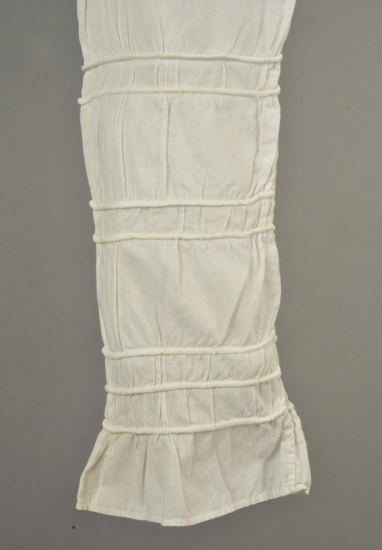 WHITE COTTON DRESS with CORDING, c. 1800 - 4
