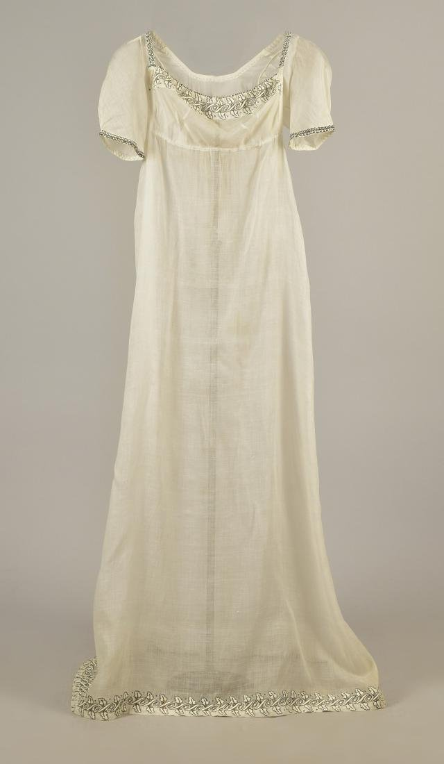MULL DRESS with METALLIC EMBROIDERY, c. 1800