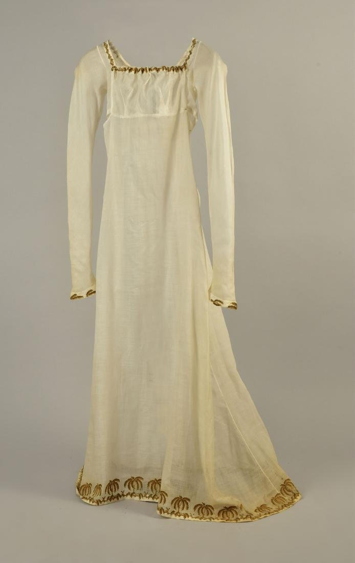 UNUSUAL MUSLIN DRESS with PALM TREE EMBROIDERY, 1805