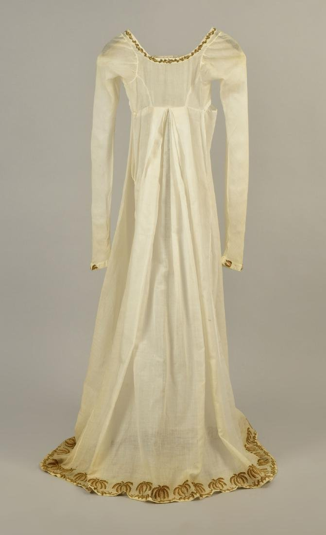 UNUSUAL MUSLIN DRESS with PALM TREE EMBROIDERY, 1805 - 2