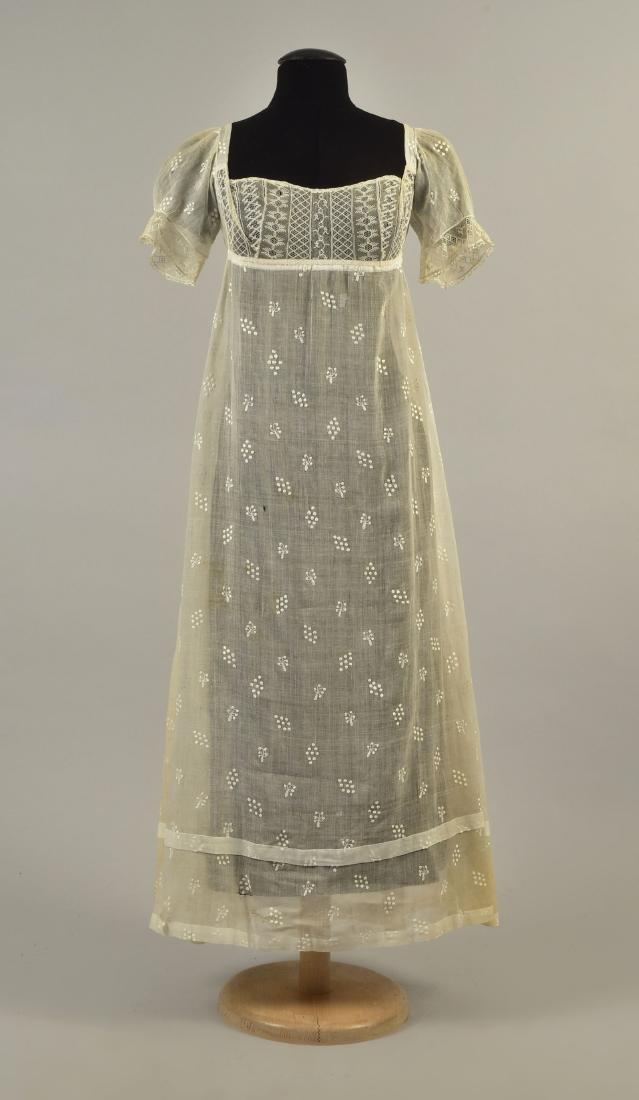 GRACE FLETCHER WEBSTER SPRIGGED MULL DRESS, 1808