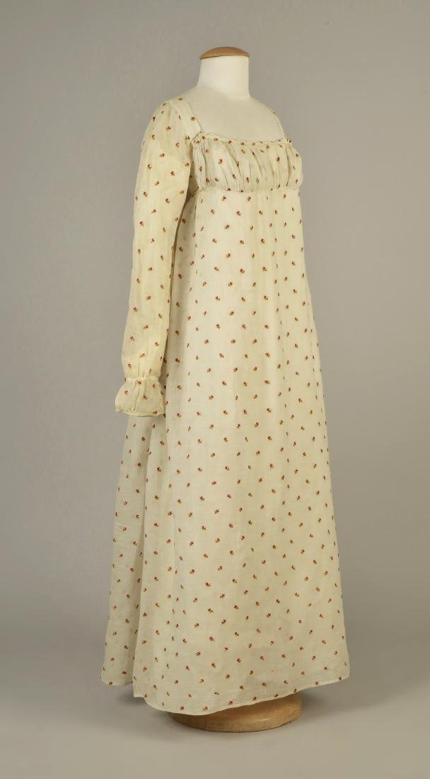 MUSLIN DRESS with CREWEL EMBROIDERY, AMERICAN, 1810