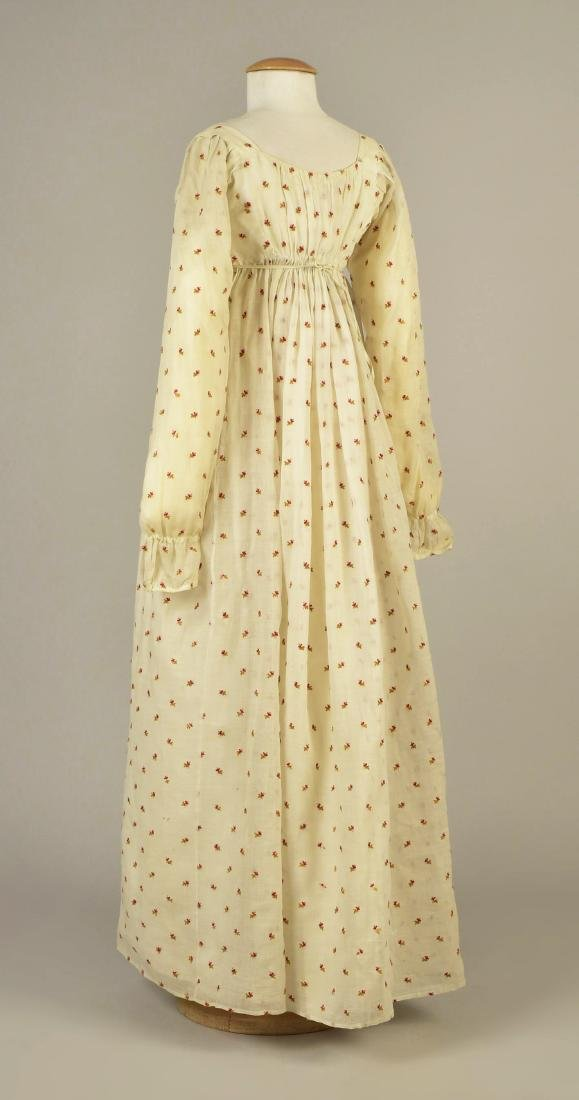MUSLIN DRESS with CREWEL EMBROIDERY, AMERICAN, 1810 - 2