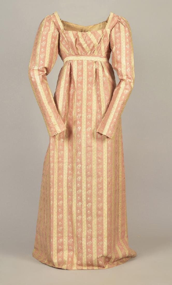 AMERICAN FLORAL STRIPED SILK DRESS, c. 1810