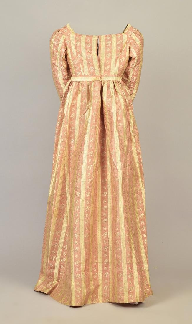 AMERICAN FLORAL STRIPED SILK DRESS, c. 1810 - 2