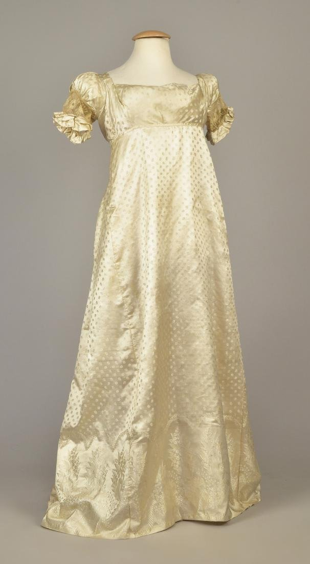 ENGLISH DAMASK GOWN with FLORAL BORDER, c. 1810