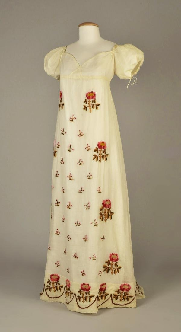 SHEER COTTON DRESS with YARN EMBROIDERY, c. 1815