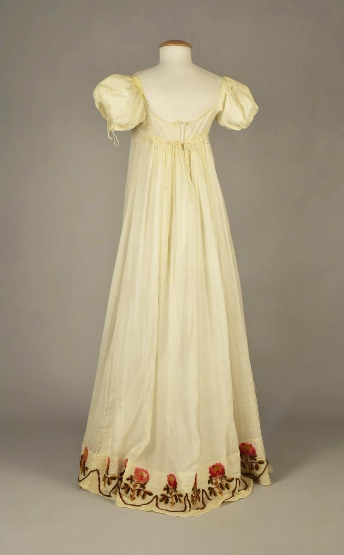 SHEER COTTON DRESS with YARN EMBROIDERY, c. 1815 - 2