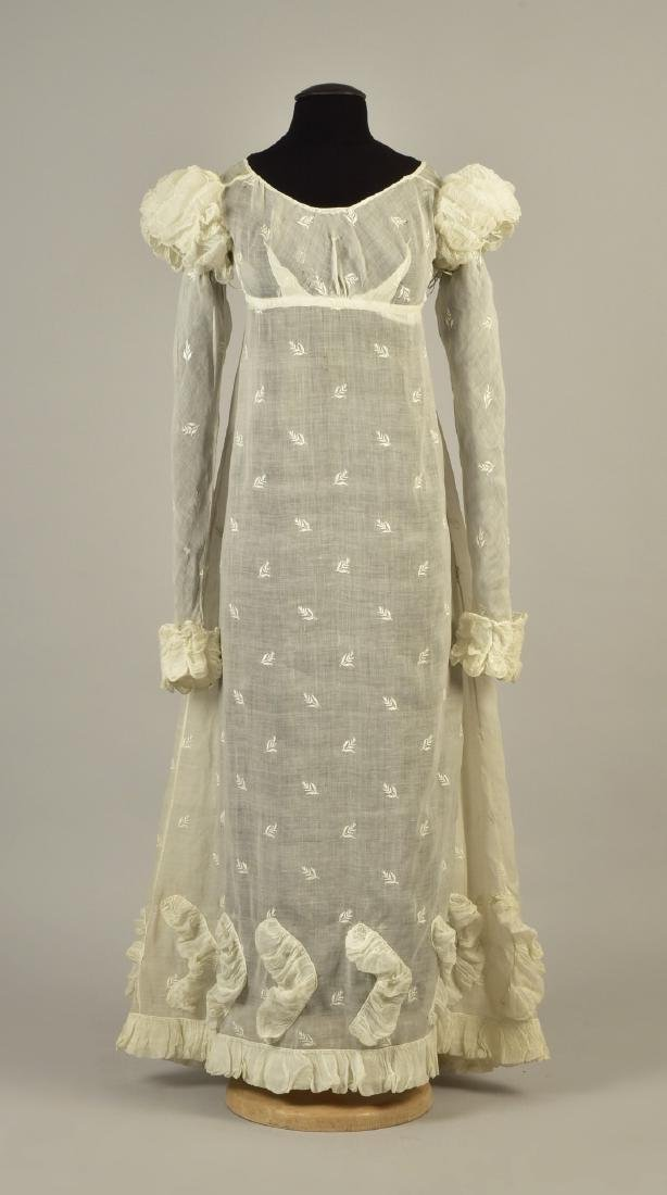 ENGLISH EMBROIDERED MULL DRESS, 1815