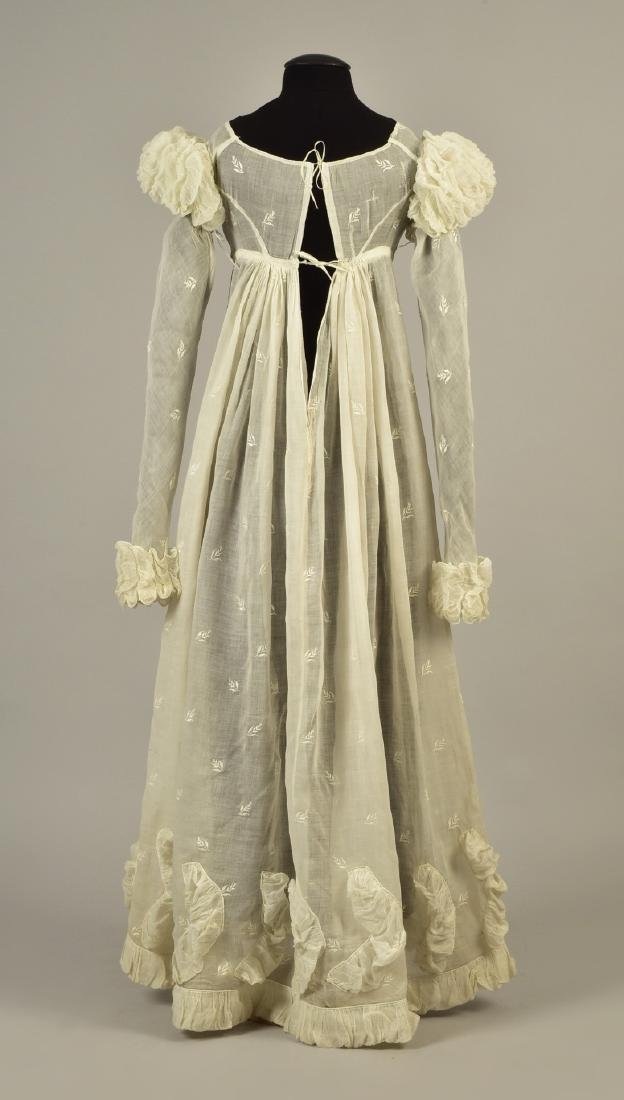 ENGLISH EMBROIDERED MULL DRESS, 1815 - 2