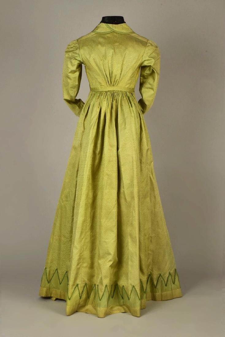 NILE GREEN FIGURED SILK PELISSE, 1815 - 2