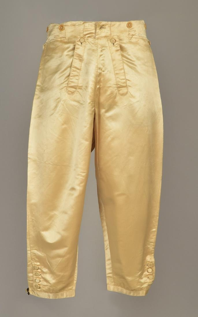 GENTLEMAN'S ENGLISH CREAM SATIN BREECHES, 1800