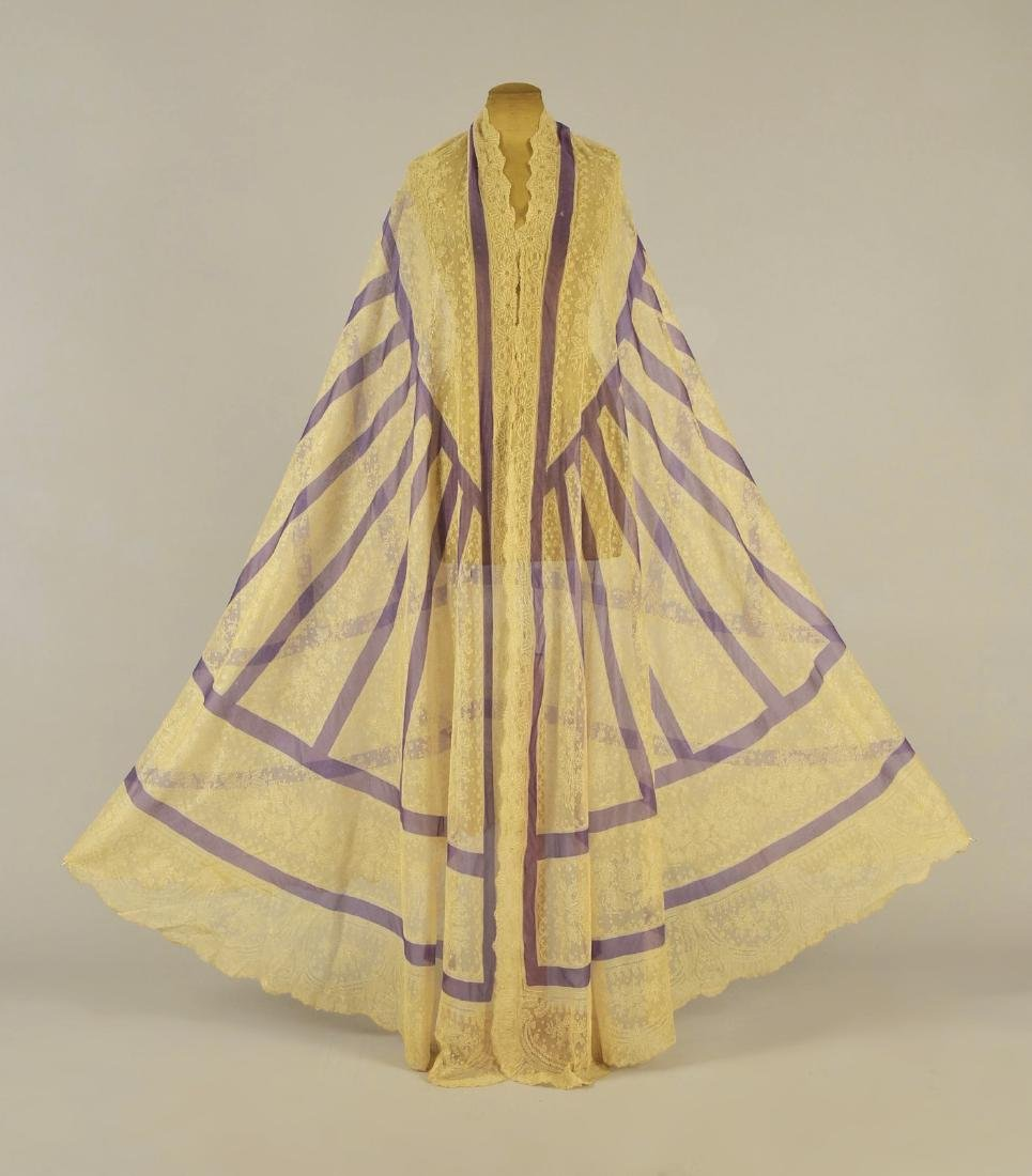 CREAM LACE SHAWL with LAVENDER STRIPES, 1860