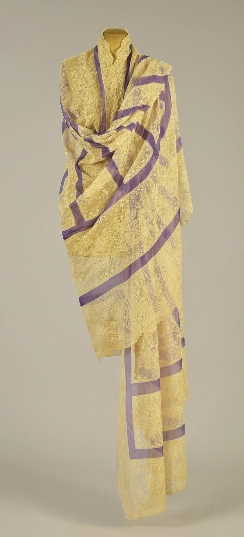 CREAM LACE SHAWL with LAVENDER STRIPES, 1860 - 2
