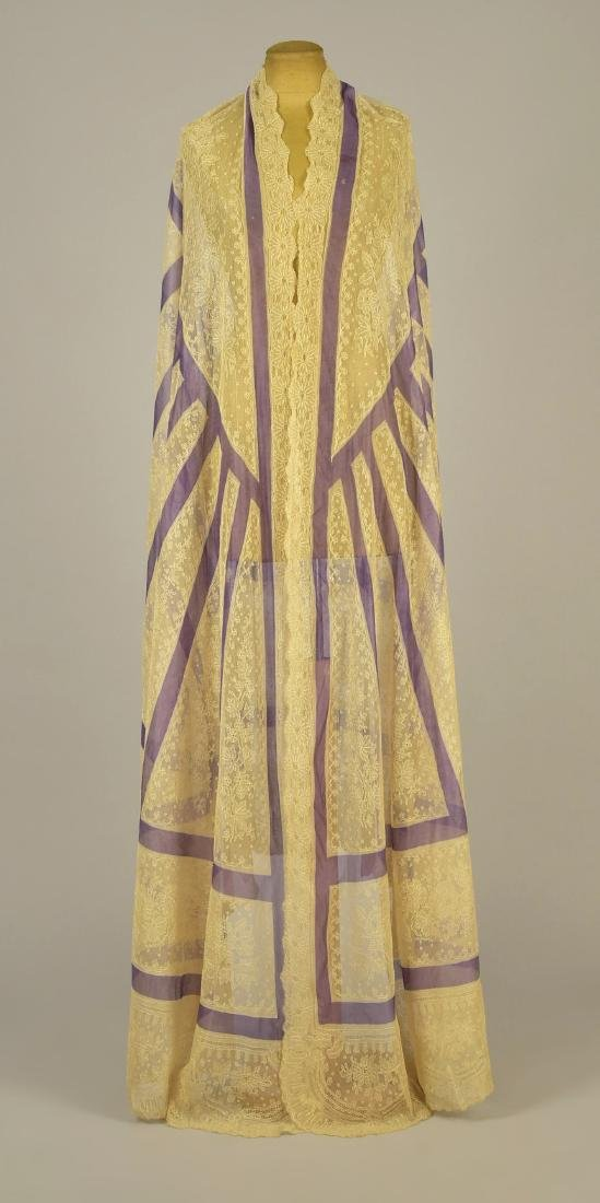 CREAM LACE SHAWL with LAVENDER STRIPES, 1860 - 3