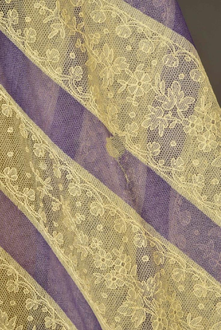 CREAM LACE SHAWL with LAVENDER STRIPES, 1860 - 4