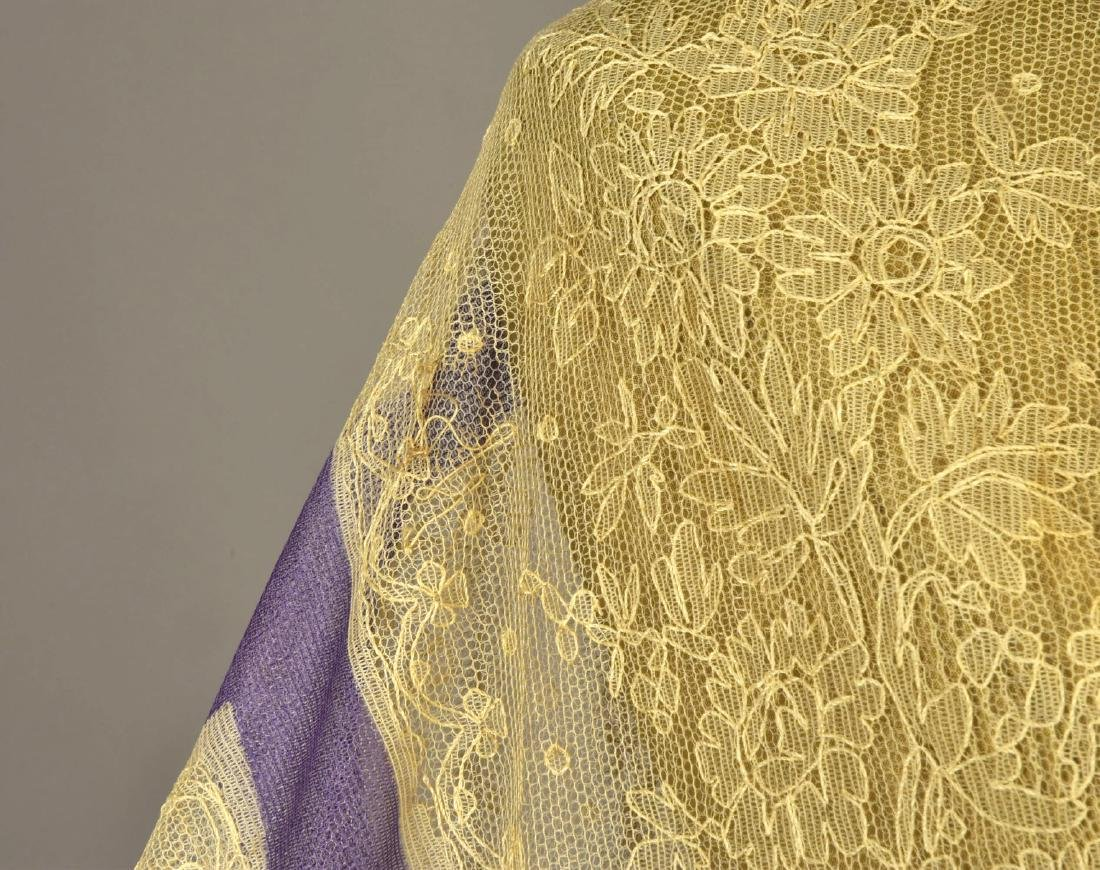 CREAM LACE SHAWL with LAVENDER STRIPES, 1860 - 5