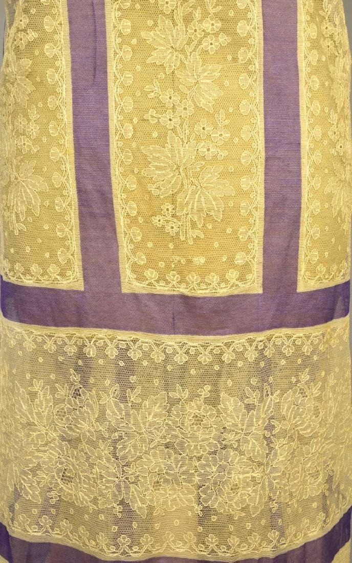 CREAM LACE SHAWL with LAVENDER STRIPES, 1860 - 6
