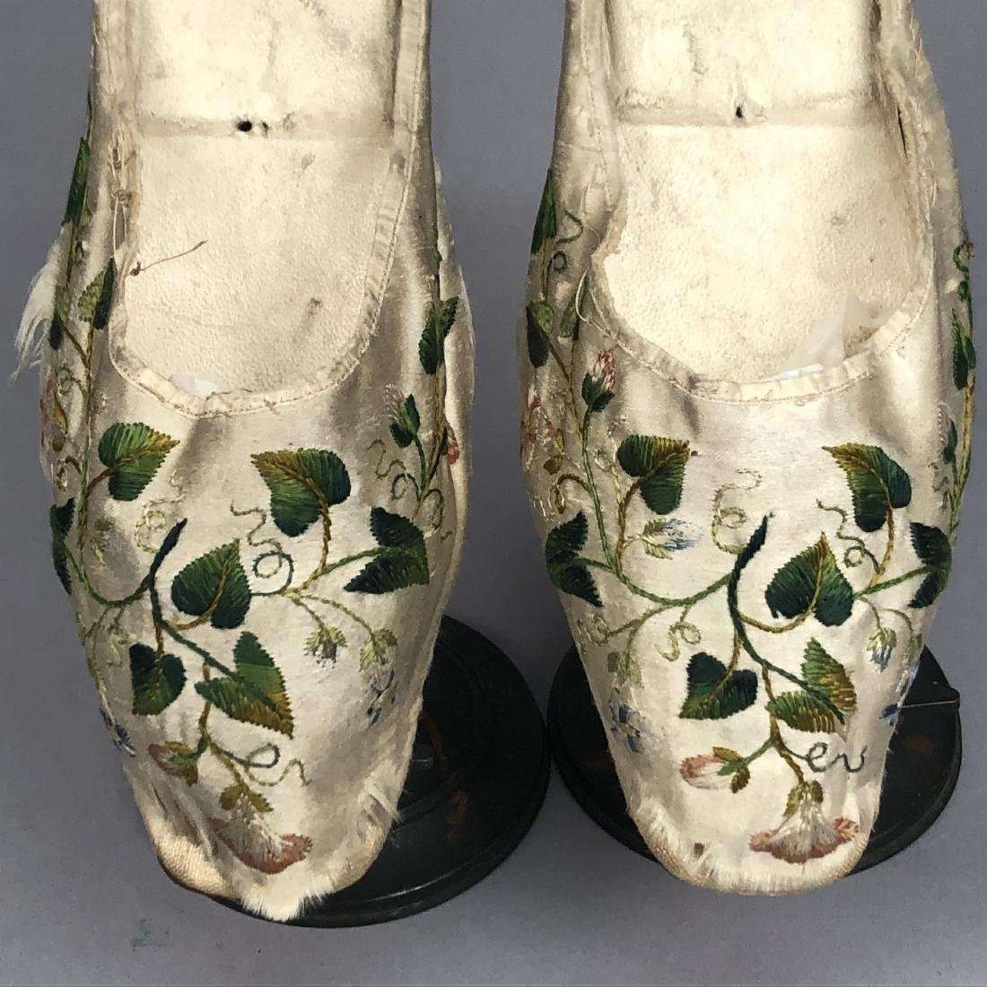 TWO PAIR LADIES' SLIPPERS, 1800s and 1820s