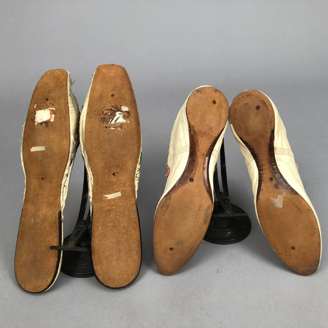 TWO PAIR LADIES' SLIPPERS, 1800s and 1820s - 3