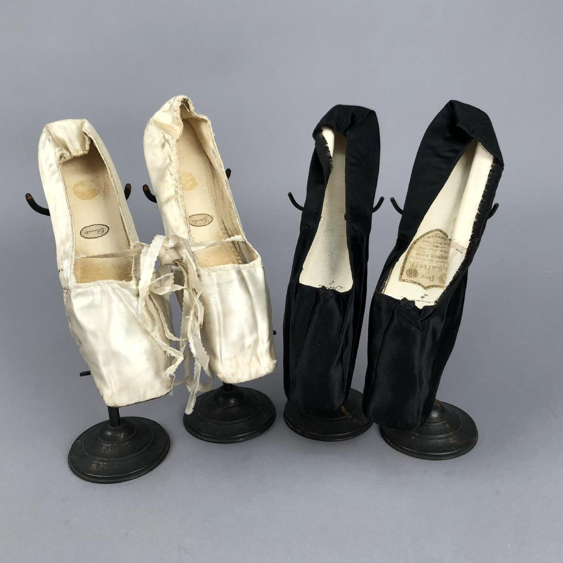 TWO PAIR LADIES' SATIN FLATS, 1830s - 1840s