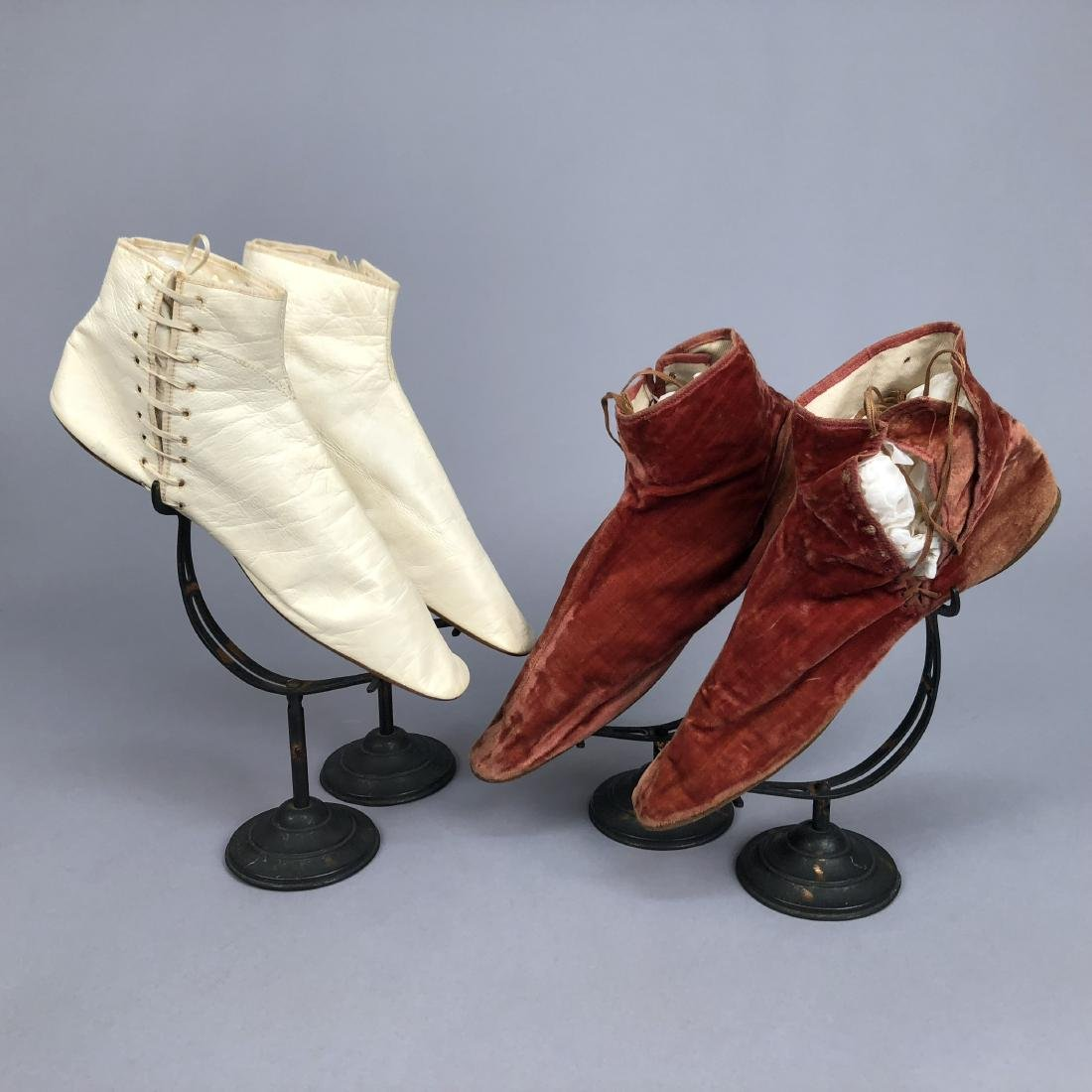 TWO PAIR SIDE-LACING ANKLE BOOTS, 1835 - 1855