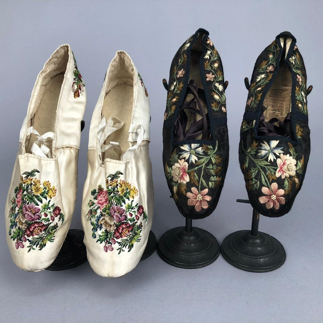 TWO PAIR FLORAL EMBROIDERED SILK SLIPPERS, 1830s -