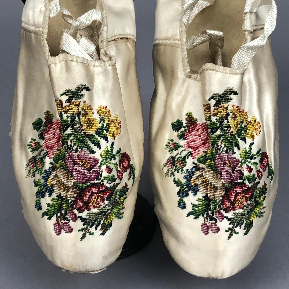 TWO PAIR FLORAL EMBROIDERED SILK SLIPPERS, 1830s - - 2