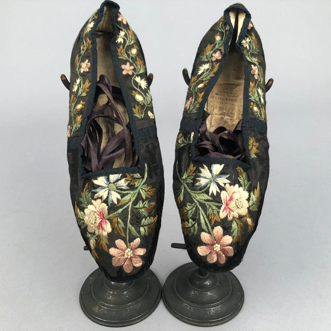 TWO PAIR FLORAL EMBROIDERED SILK SLIPPERS, 1830s - - 4
