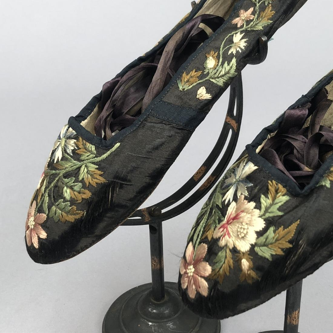 TWO PAIR FLORAL EMBROIDERED SILK SLIPPERS, 1830s - - 5