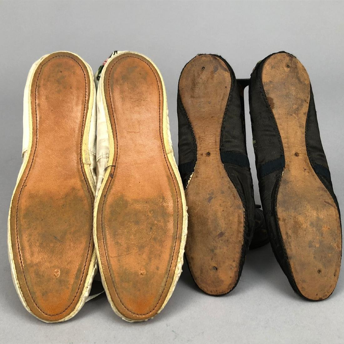 TWO PAIR FLORAL EMBROIDERED SILK SLIPPERS, 1830s - - 7