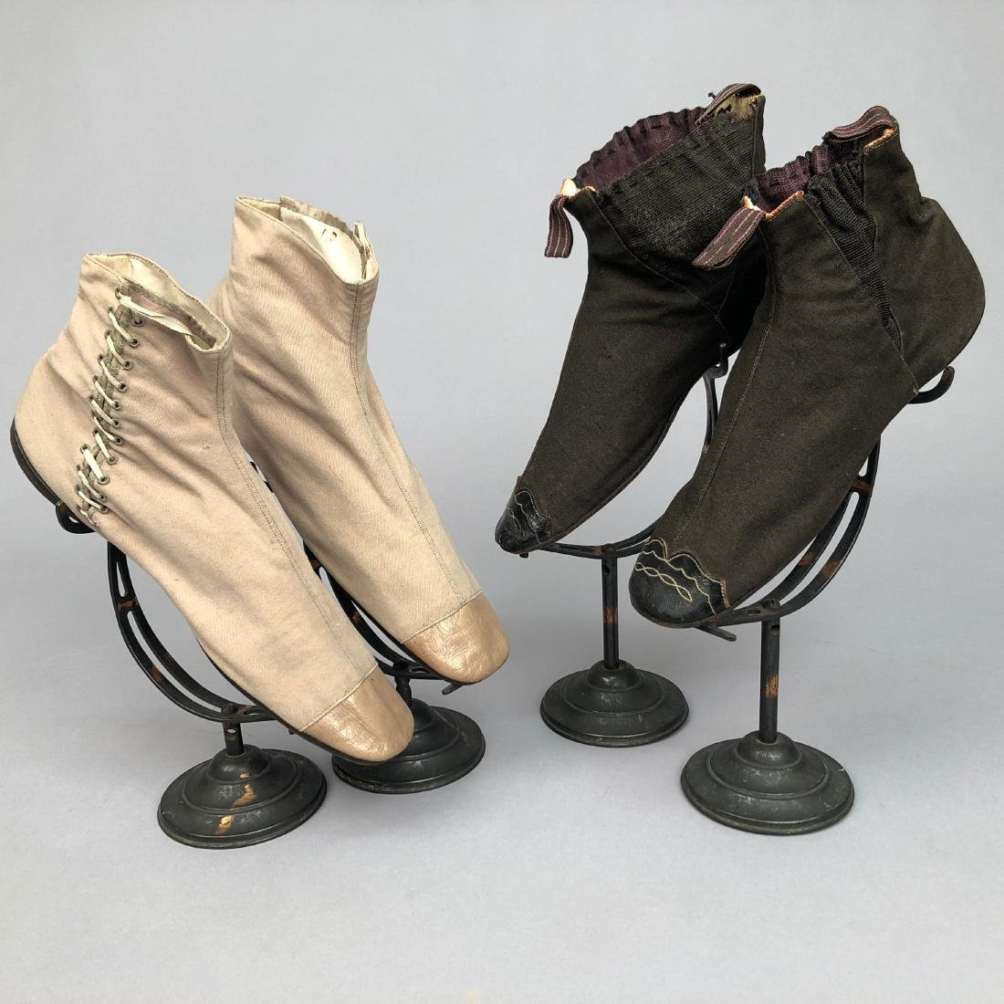 TWO PAIR WOOL BOOTS with LEATHER CAP TOE, 1830s