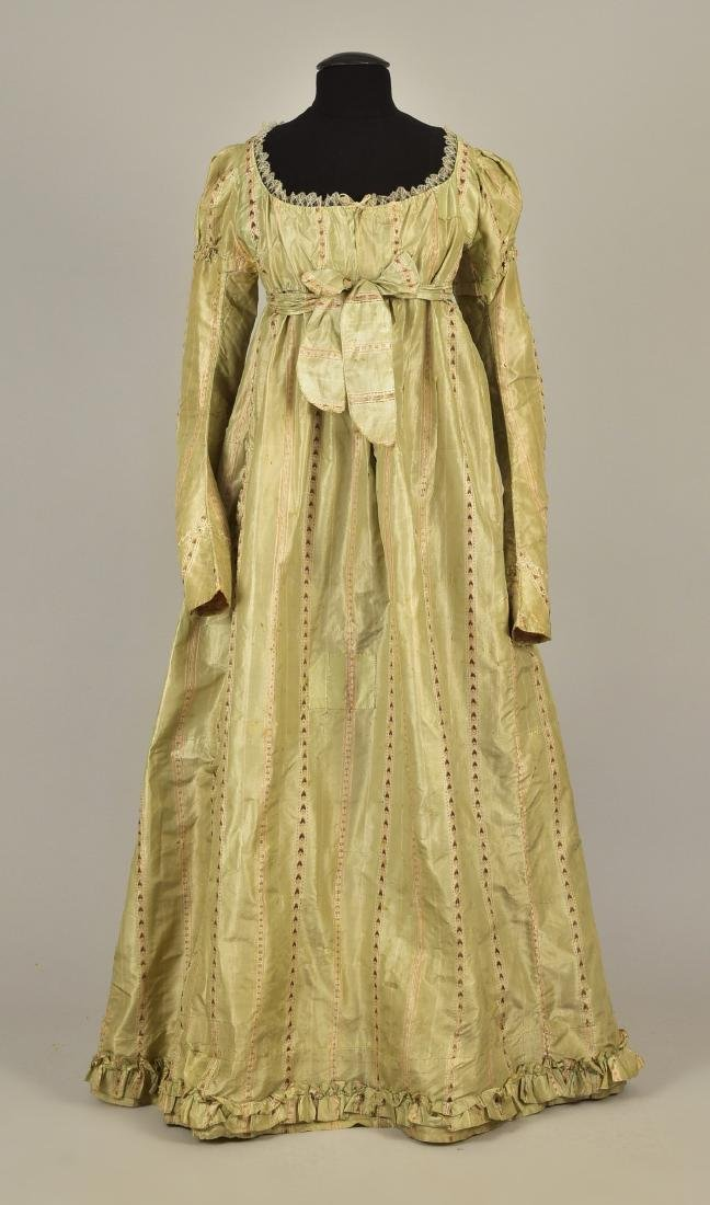 FRENCH STRIPED SILK GOWN, 1780s, RESTYLED c. 1815