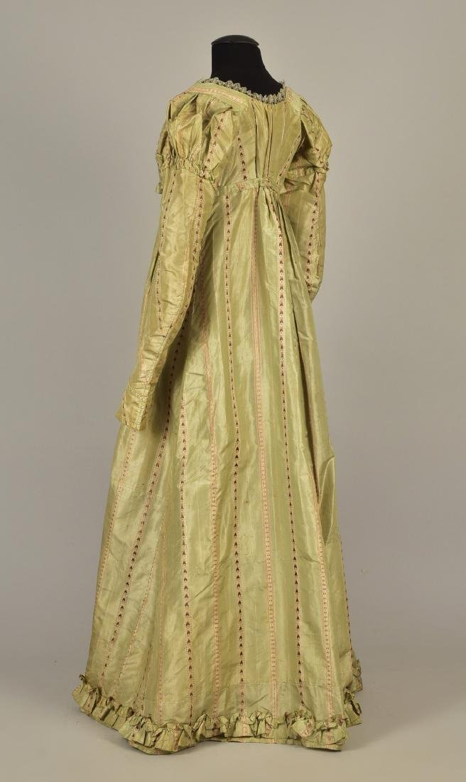 FRENCH STRIPED SILK GOWN, 1780s, RESTYLED c. 1815 - 2
