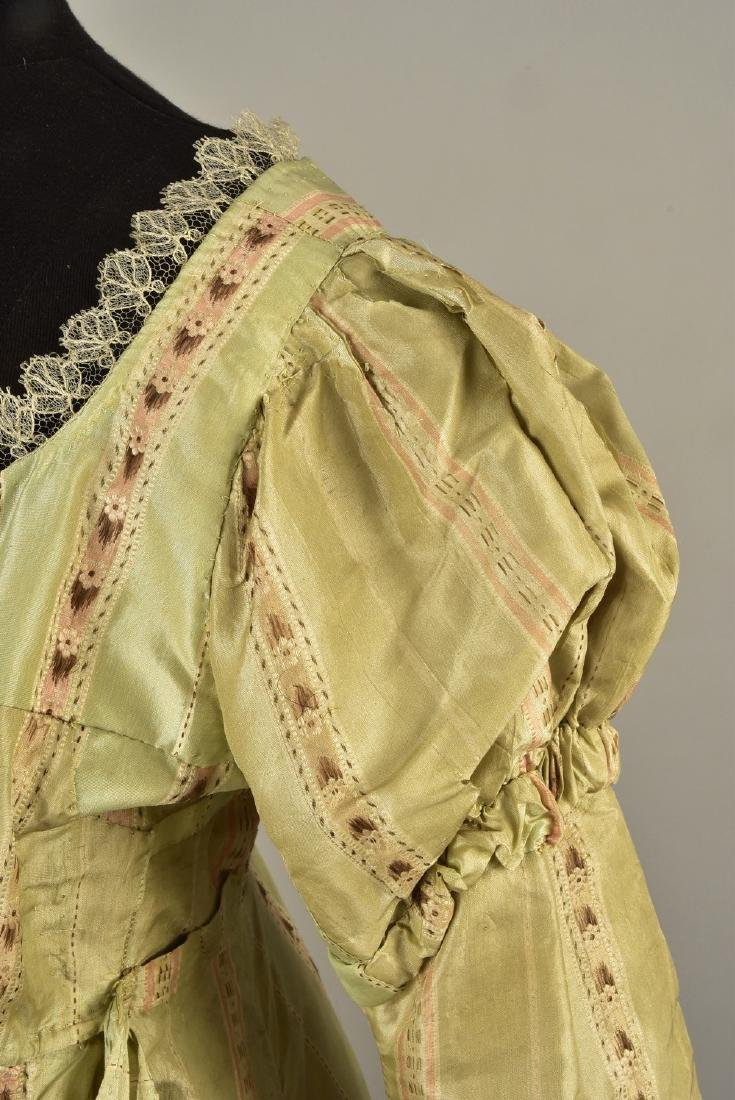 FRENCH STRIPED SILK GOWN, 1780s, RESTYLED c. 1815 - 3