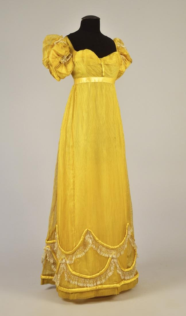 STRIPED GAUZE EVENING DRESS with BLONDE LACE, 1815