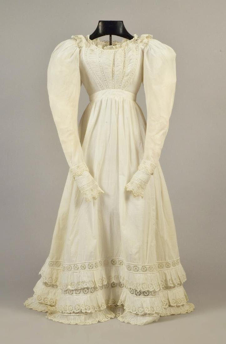 WHITE COTTON DRESS with BRODERIE ANGLAISE , 1820