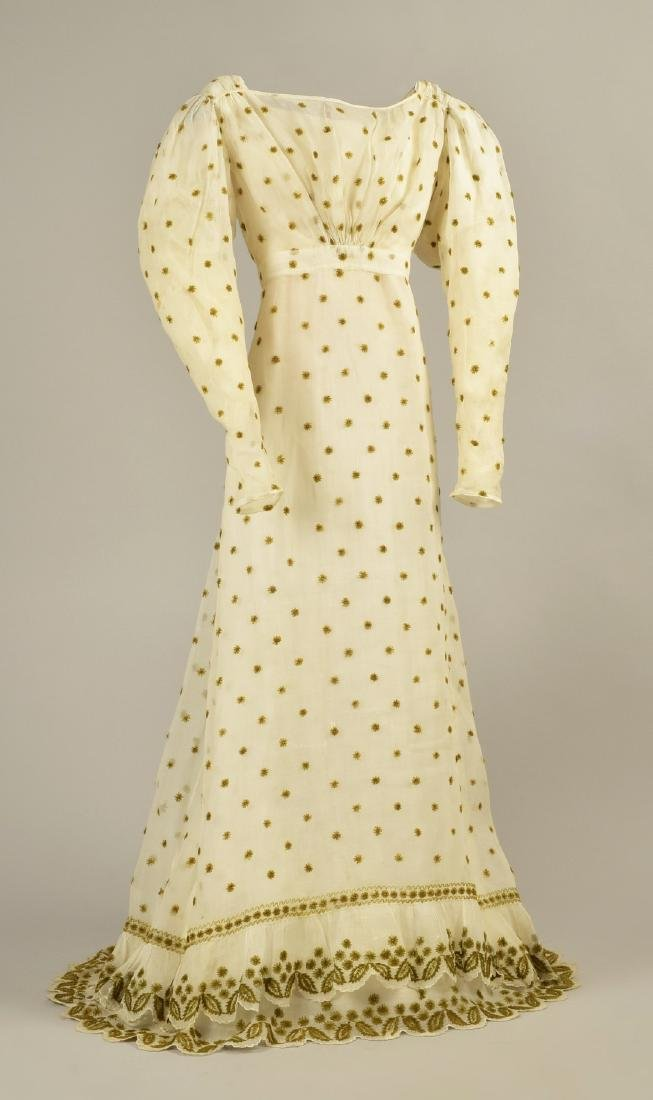 WOOL EMBROIDERED MULL DRESS, c. 1824