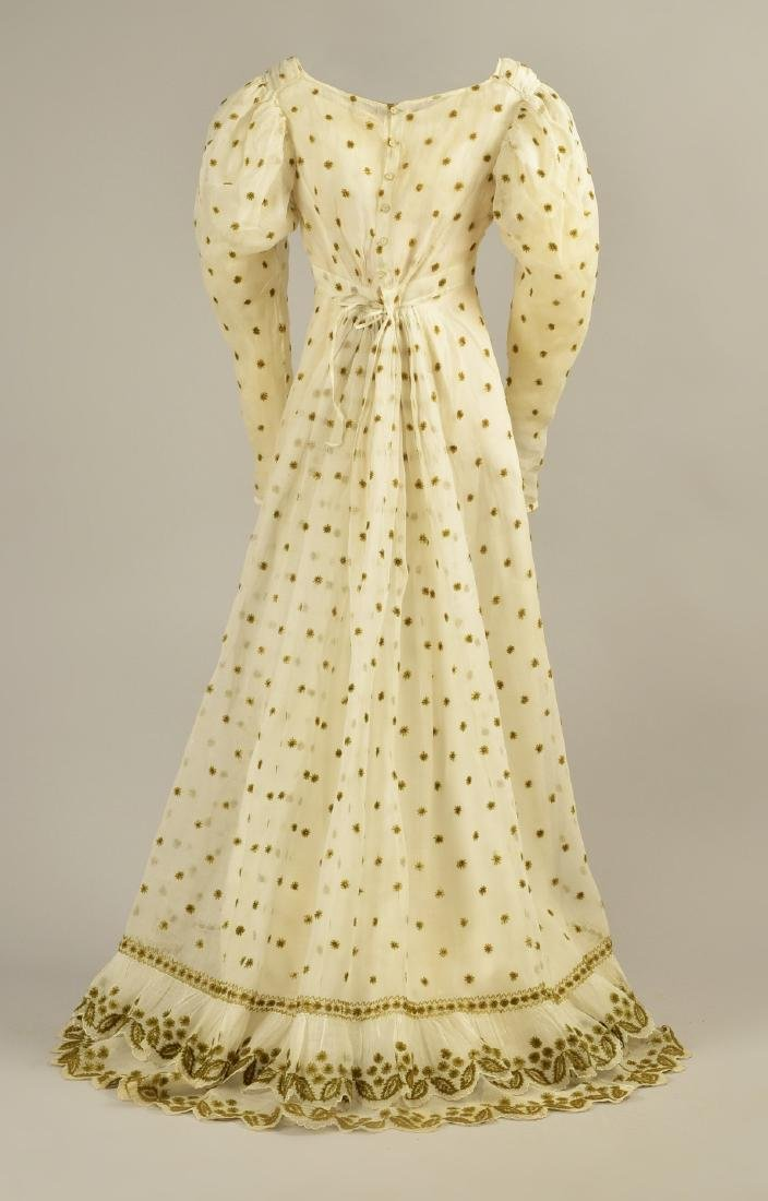 WOOL EMBROIDERED MULL DRESS, c. 1824 - 2