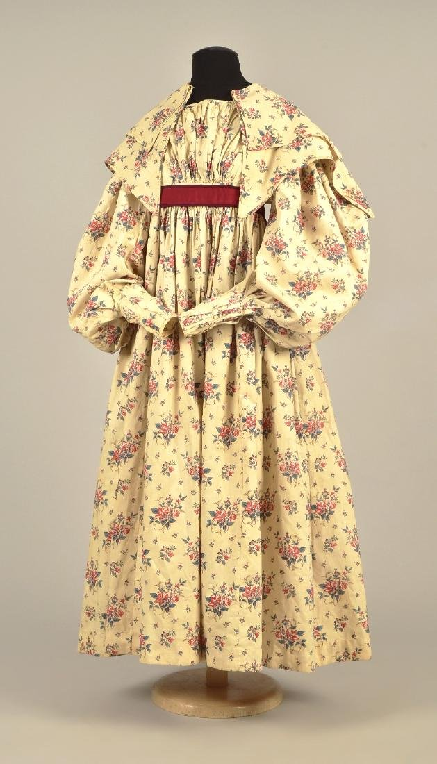 PRINTED COTTON DRESS with CAPELET, 1830