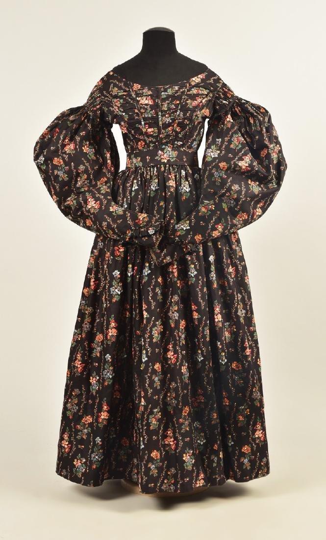 ENGLISH PRINTED COTTON DAY DRESS, c. 1835