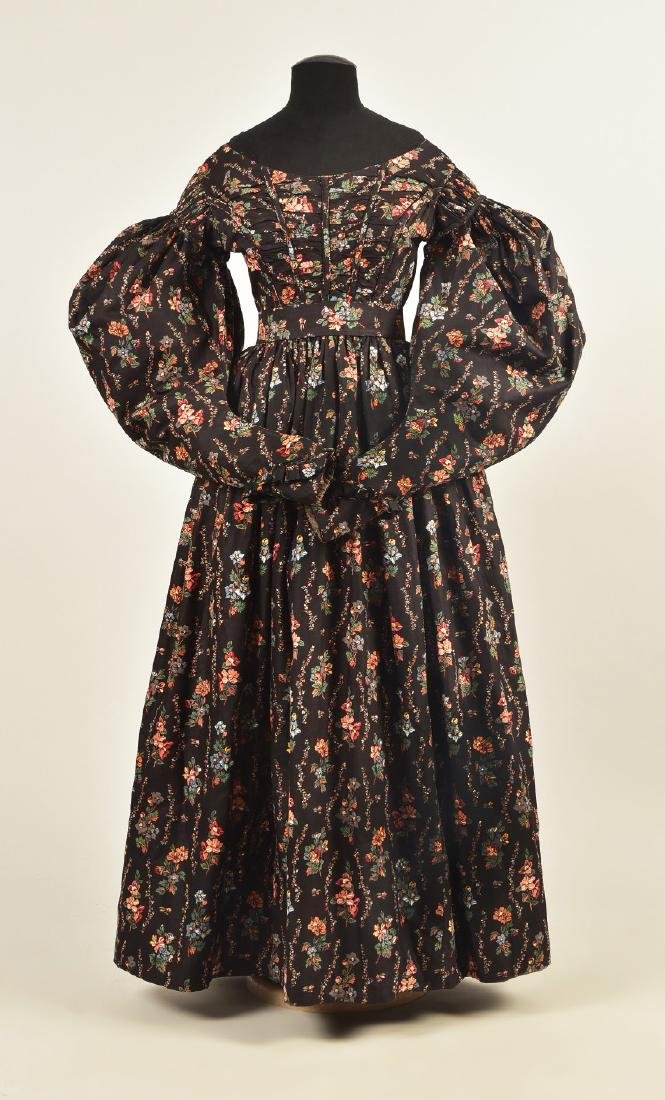 ENGLISH PRINTED COTTON DAY DRESS, c. 1835