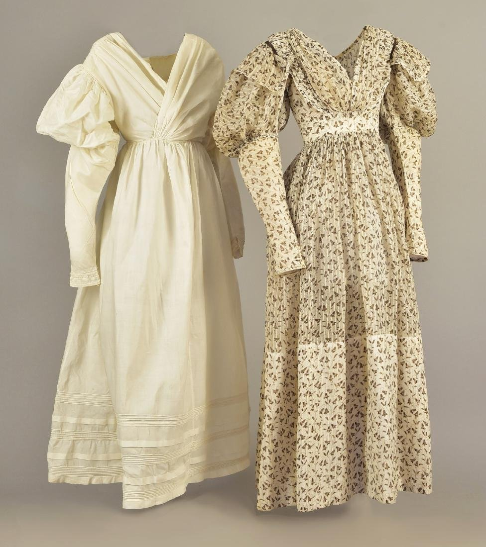 PRINTED COTTON DRESS and UNDERDRESS, c. 1835