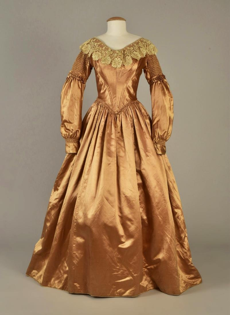 SATIN GOWN with DETACHABLE SLEEVES, 1839
