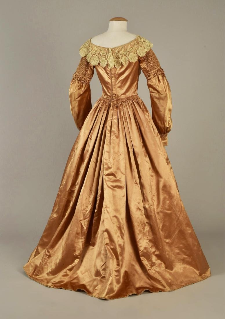 SATIN GOWN with DETACHABLE SLEEVES, 1839 - 2