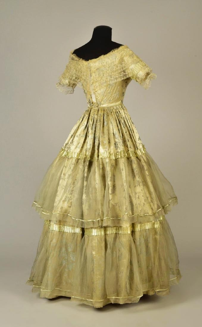 LADY JANE ERSKINE'S FIGURED SATIN EVENING GOWN, 1840 - 3