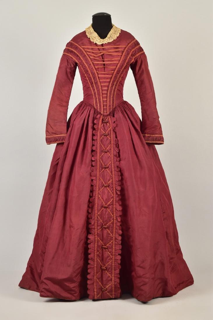 ENGLISH CLARET SILK DAY DRESS, 1845