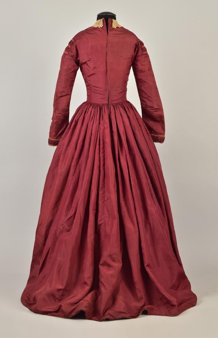 ENGLISH CLARET SILK DAY DRESS, 1845 - 2
