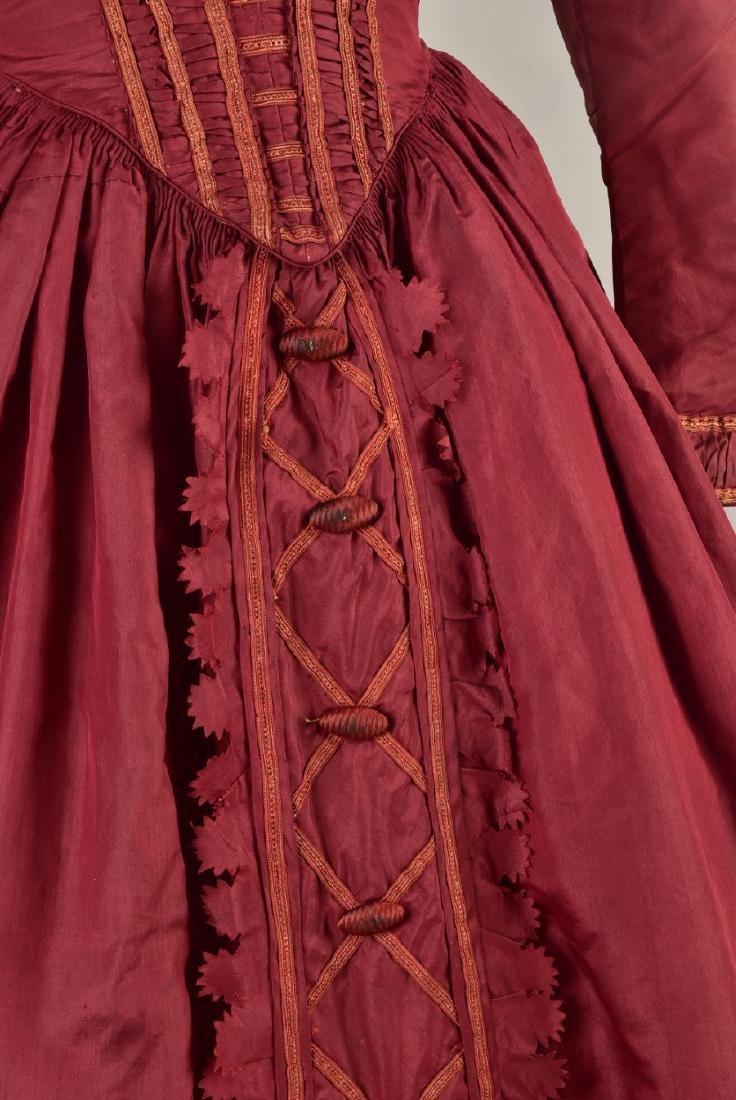 ENGLISH CLARET SILK DAY DRESS, 1845 - 3